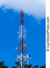 Transmission Tower - Transmission tower half concealed with...