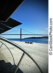 Tagus riverside - View of Tagus riverside in Lisbon,...