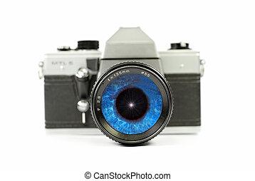 camera eye - camera lens with a blue iris inside