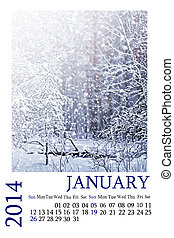 Calendar 2014 January Winter landscape Snowfall