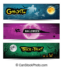 Happy Halloween day banner collections design, vector...