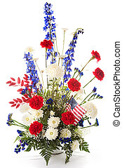 Patriotic Flower Arrangement - Flower arrangement in red,...
