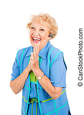 Cellphone Senior Woman - Excited