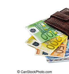 Leather wallet with money isolated over white
