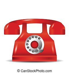 old red phone - colorful illustration with old red phone for...
