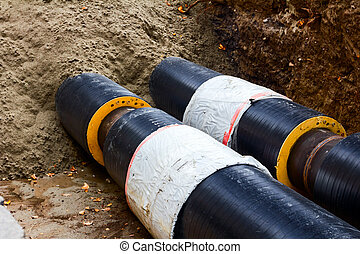 Partially buried pipeline - Work in progress, burying...