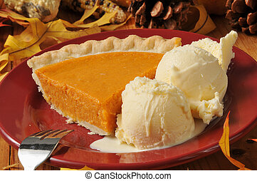 Sweet potato pie al a mode - A slice of sweet potato or...