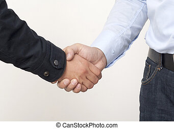 shaking hands - farmer and businessman shaking hands