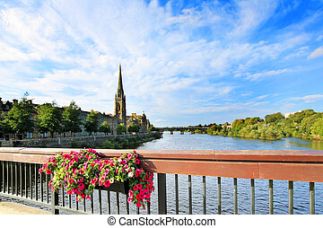 The River Tay, Perth Scotland - The River Tay on a summer...