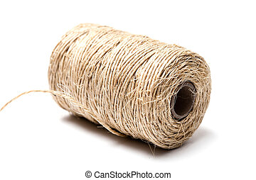 Twine - Linen string isolated on a white background