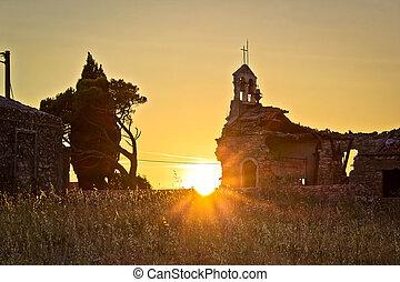 Church war ruins sunset  in Zadar