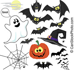 halloween clipart vector - set of cute design elements for...