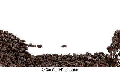 Roasted Coffee beans falling mix