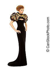 Woman in long black luxury fashion dress over white background