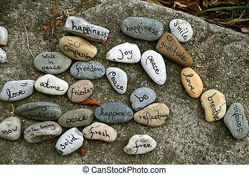 message, pierres