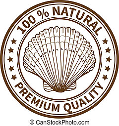 Stamp with the sea shell and the text 100% natural, premium...
