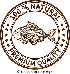 Stamp with the fish and the text 100% natural, premium...
