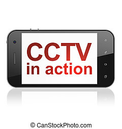 Safety concept: CCTV In action on smartphone