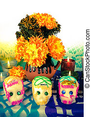 Sugar skulls on day of the dead Dia de Muertos - Traditional...