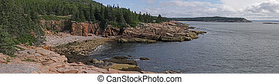 Acadia National Park Coast Panorama - The granite cliffs of...