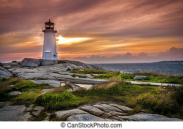 Peggys Cove - Sunset on Peggys Cove Lighthouse Nova Scotia...