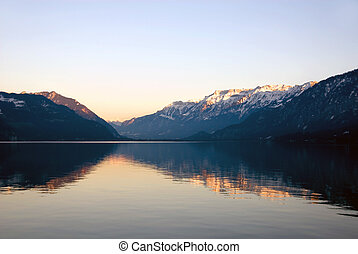 Thuner See - Interlaken - Sunset over the Thuner See,...