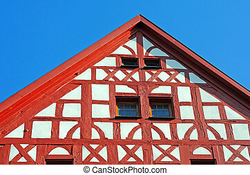 Detail of half-timbered building in Fulda, Germany - Detail...