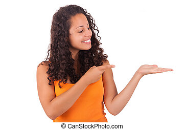Young african american woman  displaying something