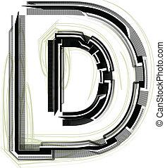 technological font LETTER D