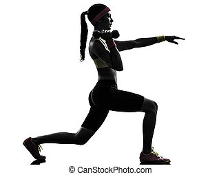 woman exercising fitness lunges workout silhouette - one...