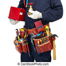 Plumber with a tool belt. - Handyman with a tool belt....