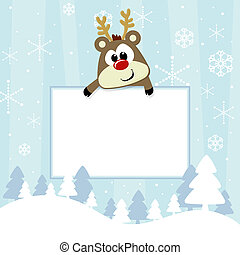baby christmas card - baby rudolph with blank signboard on...