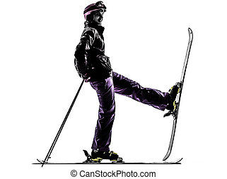 one woman skier resting silhouette
