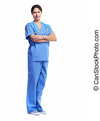 Nurse in uniform with stethoscope isolated on white...