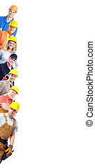 Construction workers group Isolated over white background