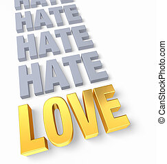 "Love Ends Hate - A bright, gold ""LOVE"" ends a row of plain..."