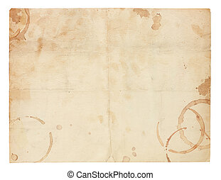 Old Blank Paper with Coffee Ring Stains - Aged and worn...