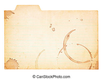 Vintage Tabbed Index Card With Coffee Stains - Aged and worn...