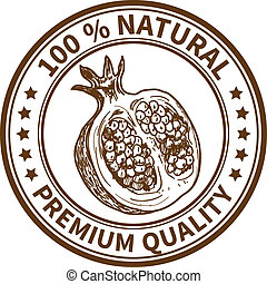 Stamp with the pomegranate and the text 100 natural, premium...