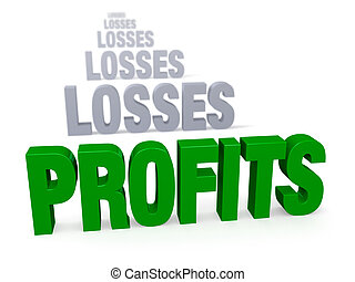 Profits After Losses - Sharp focus on triumphant, green...