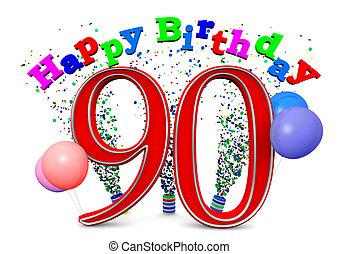 happy 90th birthday - Happy Birthday with ballons and the...