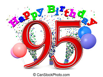happy 95th birthday - Happy Birthday with ballons and the...