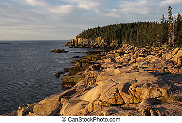 Acadia Coastline - The gorgeous sunrise shining on the Otter...