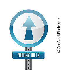 energy bills road sign illustration design over white