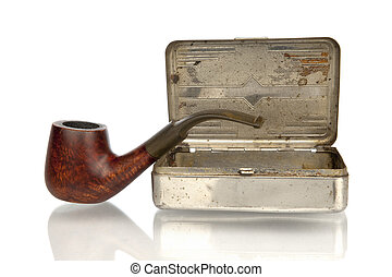 Pipe with tobacco box isolated in white