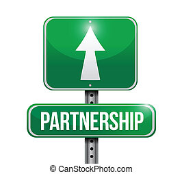partnership road sign illustration design