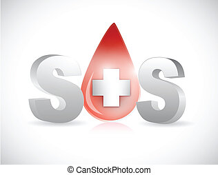 sos blood illustration design over a white background