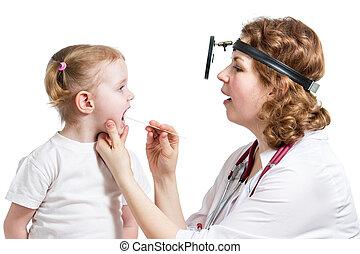 doctor examining child isolated