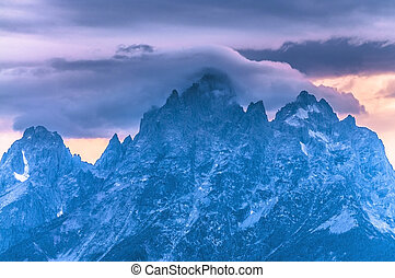 Grand Tetons Lanscape - Dramatic Sky over Grand Teton Peaks...