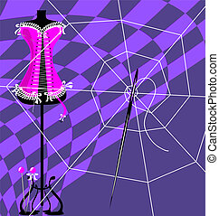 web and craft - abstract image of sewing craft and women's...